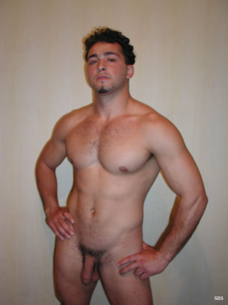 Amateur muscular boys flexing